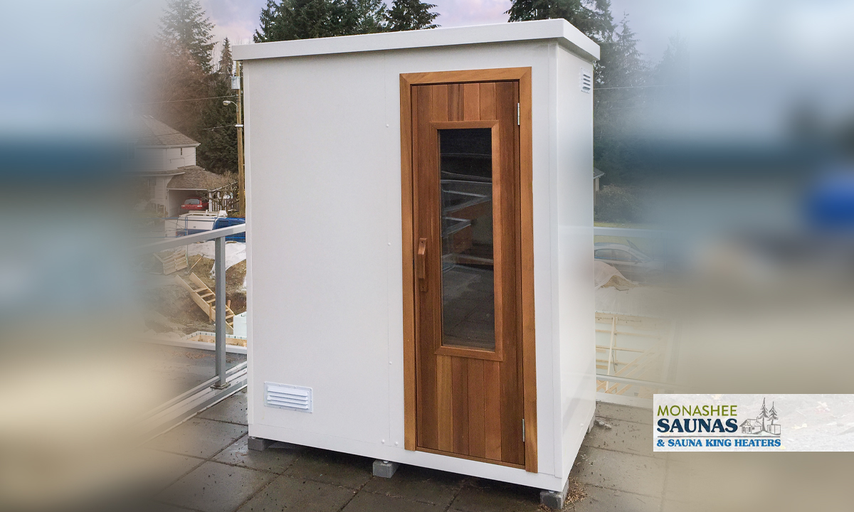 Custom traditional outdoor sauna with shed style roof.